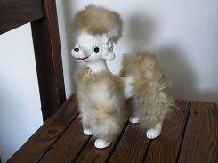 陶器 ファー付 プードル【 日本製 】 1950年代 犬 イヌ ヴィンテージ かわいい インテリア 置物 大きい 動物 アニマル 希少