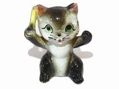 指揮者 猫 陶器 置物【1950年代】 日本製  ビンテージ 陶製 ドール ネコ キャット インテリア 置物 かわいい 動物 アニマル 音楽