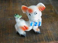 しっぽにカエル ドッグ 陶器 置物【1950年代】 日本製  ビンテージ 陶製 ドール 犬 イヌ インテリア 希少 ユニーク