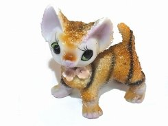 砂糖菓子みたいなトラネコ 陶器 置物【1950年代】 日本製  ビンテージ 陶製 ドール ネコ キャット インテリア 置物 かわいい 動物 アニマル