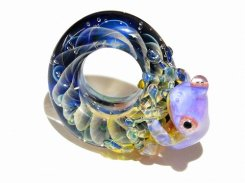 入梅 拾 【 kengtaro ケンタロー 】 梅雨の頃合い ボロシリケイトガラス 職人 作家 蛙 かえる フロッグ 一点 カラフル 芸術 個性的 リング シーズン 季節
