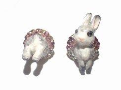 ウサギのピアス (グレー×ピンク)【Wadou-koubou/和道工房】りんごの森の小さな住人シリーズ うさぎ アニマル 動物