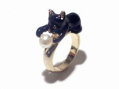 パールキャッチキャット リング (黒猫) 11号 【 KAZA カザ 】【 メール便 送料無料 】 指輪 ねこ 猫 アニマル 動物 アクセサリー プレゼント かわいい