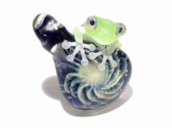 梅雨 五 【 kengtaro ケンタロー 】 ボロシリケイトガラス 職人 作家 蛙 かえる フロッグ 一点 個性的 アクセサリー ジュエリー ペンダント トップ