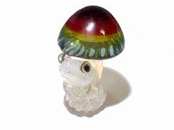 きのこの中から 【 kengtaro ケンタロー 】 キノコ カエル ボロシリケイトガラス 職人 作家 蛙 かえる フロッグ 一点 カラフル 芸術 個性的 菌 きのこ