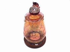 アロマポット Frog on a Mshuroom 四 (台付き) 【 kengtaro / ケンタロー 】 キノコ カエル 一点もの ボロシリケイトガラス 職人 作家 蛙 かえる フロッグ カラフル