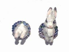 ウサギのピアス (ブルー)【 Wadou-koubou 和道工房 】 りんごの森の小さな住人シリーズ うさぎ アニマル 動物