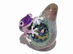 『 彩 いろどり (七) 』【 kengtaro ケンタロー 】  カエル ボロシリケイトガラス 職人 作家 蛙 かえる フロッグ 一点 カラフル 芸術 個性的 かわいい おしゃれ