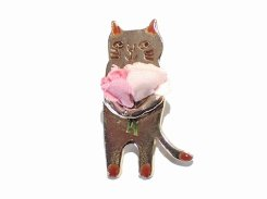 ブーケキャット ブローチ 【 Luccica ルチカ 】【 メール便 送料無料 】 カワイイ ねこ 猫 アニマル ユニーク おもしろ 誕生日 プレゼント 女性 雑貨