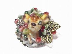 バンビ ブローチ xmas  【 Wadou-koubou / 和道工房 】 アニマル 動物 ハンドメイド 小鹿 クリスマス かわいい シカ
