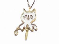おばけアイスねこ ネックレス 【 thuthu appetizing accessories / nupi 】 ネコ 真鍮 アクセサリー かわいい キャット 猫 ユニーク