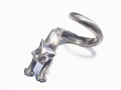 『 猫は液体 リング フリーサイズ』【 林檎屋 】【 メール便 送料無料 】 シルバーアクセサリー 指輪 ねこ ネコ キャット 動物 アニマル かわいい