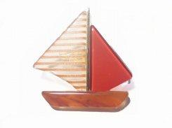 ディンギー ブローチ (レッド)【 Luccica ルチカ 】【メール便送料無料】 アクセサリー ファッション 乗り物 個性的 ユニーク マリンルック 船 ヨット