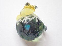 水  (四) 【写真追加分】【 kengtaro ケンタロー 】  カエル ボロシリケイトガラス 職人 作家 蛙 かえる フロッグ 一点 カラフル 芸術 個性的 かわいい