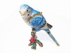 『 インコ ジュエリーボックス 』(ブルー) 【 ピィアース Piearth Japan 】アクセサリー ジュエリー ボックス 置物 インテリア 動物 アニマル モチーフ オブジェ 鳥