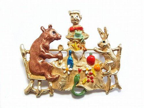 森の宴 ブローチ【Palnart Poc/パルナートポック Brough Superior/ブラフシューぺリア】【ゆうメール送料無料】熊 くま クマ ウサギ ラビット アクセサリー 動物