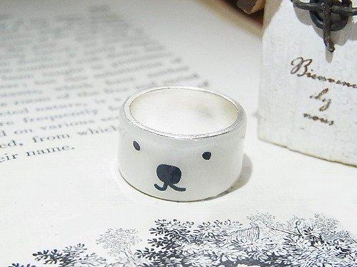ワンコと僕 リング【Luccica/ルチカ】【ゆうメール送料無料】ユルい犬の顔の指輪 アクセサリー ホワイト カワイイ アニマル 動物 シンプル