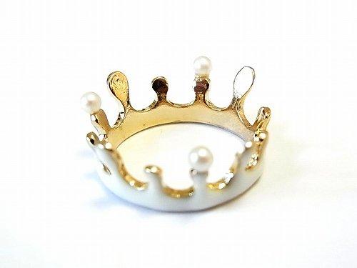 ミルククラウン パール リング 【Luccica/ルチカ】【ゆうメール送料無料】 牛乳 王冠 アクセサリー ホワイト 指輪 ナチュラル 個性的 ユニーク