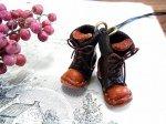 小人の編み上げブーツ ネックレス ブラウン【もりや ゆか】ハンドメイド レザーアクセサリー レディース 手作り 牛革 革製品 小物