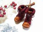 小人の編み上げブーツ ネックレス レッド【もりや ゆか】ハンドメイド レザーアクセサリー レディース 手作り 牛革 革製品 小物