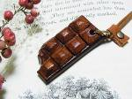 板チョコ ネックレス ミルク【もりや ゆか】ハンドメイド レザーアクセサリー レディース 手作り 牛革 革製品 小物 お菓子
