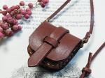 サドルバッグ ネックレス ブラウン【もりや ゆか】ハンドメイド レザーアクセサリー レディース 手作り 牛革 革製品 小物