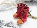 小人の編み上げブーツ バッグチャーム レッド【もりや ゆか】ハンドメイド レザーアクセサリー レディース 手作り 牛革 革製品 小物