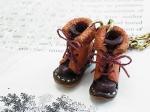 小人の編み上げブーツ バッグチャーム キャメル【もりや ゆか】ハンドメイド レザーアクセサリー レディース 手作り 牛革 革製品 小物
