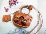 ダブルポケットバッグ ネックレス キャメル【もりや ゆか】ハンドメイド レザーアクセサリー レディース 手作り 牛革 革製品 小物