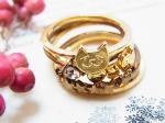 chaton 子猫の5連リング ゴールド【KAZA/カザ】【ゆうメール送料無料】ねこ ネコ キャット アニマル 動物 アクセサリー レディース 指輪