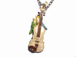 愛の挨拶 ネックレス【Palnart Poc/パルナートポック Brough Superior/ブラフシューぺリア】【ゆうメール送料無料】インコ 鳥 バード アクセサリー ヴァイオリン 楽器