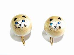 アニマルフェイス コットンパール イヤリング ねこさん【 Luccica ルチカ 】 かわいい おもしろ アクセサリー 個性的 ネコ 猫 キャット 動物