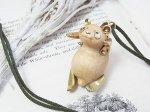 パンダのネックレス(木&真鍮)「吊られパンダ」【馴鹿/Jun-Roku】