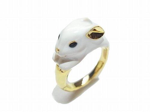 ミルキーラビット リング 【KAZA/カザ】【ゆうメール送料無料】 うさぎ 兎 ウサギ アニマル ホワイト 動物 アクセサリー レディース かわいい どうぶつ 指輪