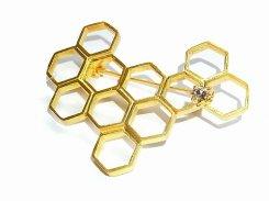 ハチの巣 ブローチ【Luccica/ルチカ】【ゆうメール送料無料】個性的 ユニーク オシャレ レディース 模様 蜂 蜂の巣 ナチュラル 自然 図形 アクセサリー