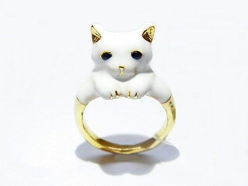 ミルキーキャット リング 【KAZA/カザ】【ゆうメール送料無料】 ねこ 猫 ネコ アニマル ホワイト 動物 アクセサリー レディース かわいい 個性的