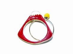 マウント富士 リング (レッド×イエロー)【Luccica/ルチカ】【ゆうメール送料無料】 アクセサリー  かわいい 個性的 おもしろ レディース 指輪 富士山 指輪 カジュアル