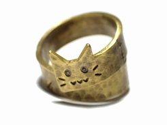 フランケン猫 リング 【 林檎屋 】【 メール便 送料無料 】 真鍮 アクセサリー 指輪 アニマル 動物 個性的 オススメ ネコ キャット ユニーク 楽しい 人気 おもしろ
