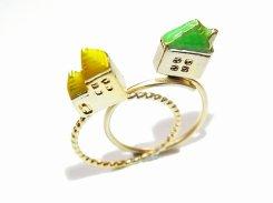 ミニチュアハウス リング (グリーン×イエロー×マットGD) 【Luccica/ルチカ】カラフル かわいい アクセサリー 個性的 おもしろ 指輪 メルヘン 夢 カジュアル 家