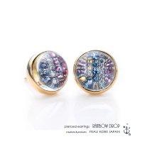 「レインボードロップ」ダイヤモンド&カラーサファイアピアス(K18YG)