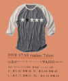 FIVE STAR ラグランTシャツ<img class='new_mark_img2' src='https://img.shop-pro.jp/img/new/icons14.gif' style='border:none;display:inline;margin:0px;padding:0px;width:auto;' />