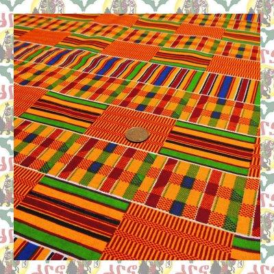 アフリカのプリント布 橙B-2(表示価格は90cm)