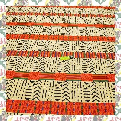 アフリカのプリント布 ケンテ 橙民族(表示価格は90cm)