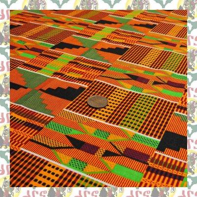 アフリカのプリント布 生地 ケンテ 橙(表示価格は90cm)