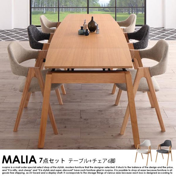 北欧デザイン スライド伸縮ダイニングセット MALIA【マリア】7点セットの商品写真大
