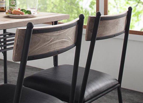 杉古材ヴィンテージデザイン Bartual【バーチュアル】ダイニング3点セット(テーブル+チェア2脚) W90 の商品写真その8