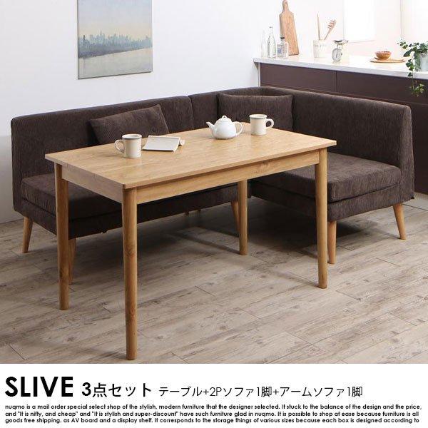 北欧デザインリビングダイニング SLIVE【スライブ】3点セット(テーブル+2Pソファ1脚+アームソファ1脚)W115cmの商品写真大