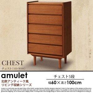 北欧アンティーク風リビング収納シリーズ amulet【アミュレット】チェスト 5段