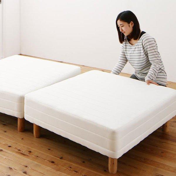 ショート丈分割式マットレスベッド セミシングル ショート丈 脚8cm【ボンネルコイル】の商品写真その1