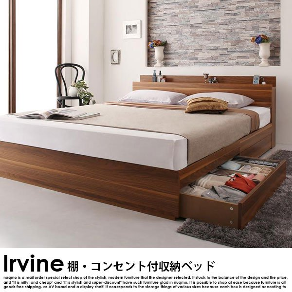 棚・コンセント付き収納ベッド Irvine【アーヴァイン】フレームのみ ダブルの商品写真大